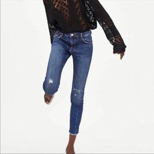 Zara Trafaluc High Rise Distressed Denim Jeans